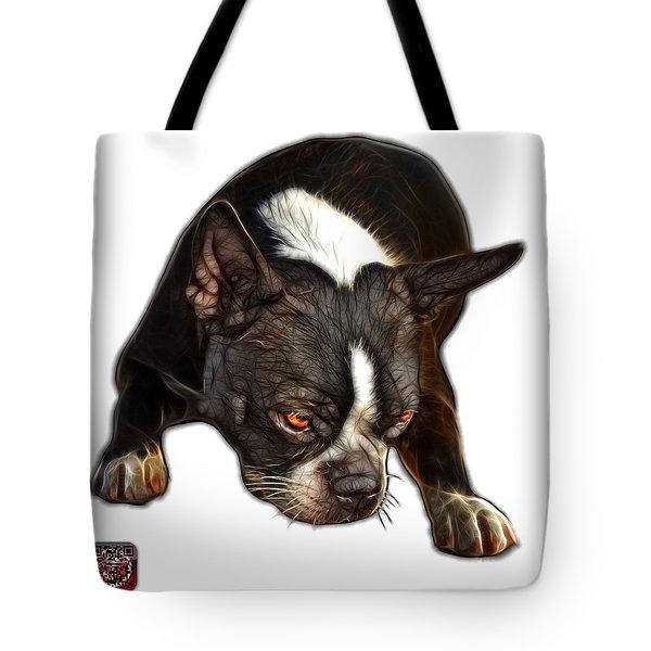 Tote Bag featuring the digital art Boston Terrier Art - 8384 - Wb by James Ahn