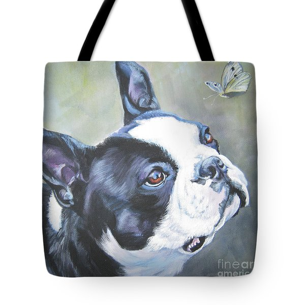 boston Terrier butterfly Tote Bag