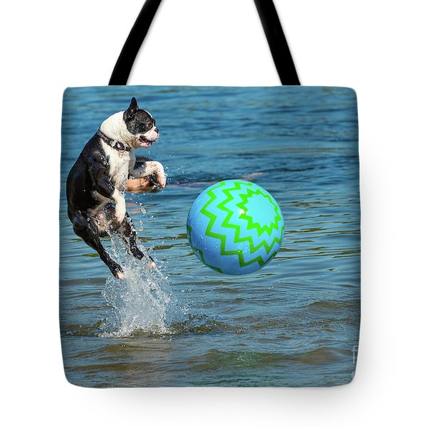 Boston Terrier High Jump Tote Bag
