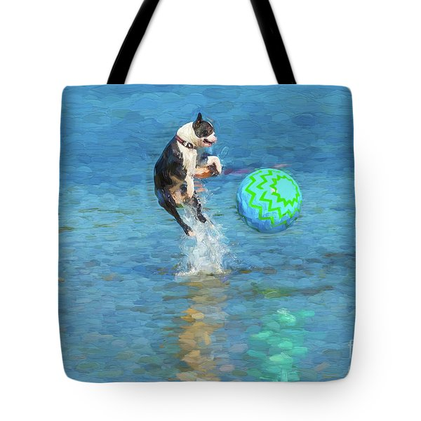 Boston Terrier Jump - Painterly Tote Bag