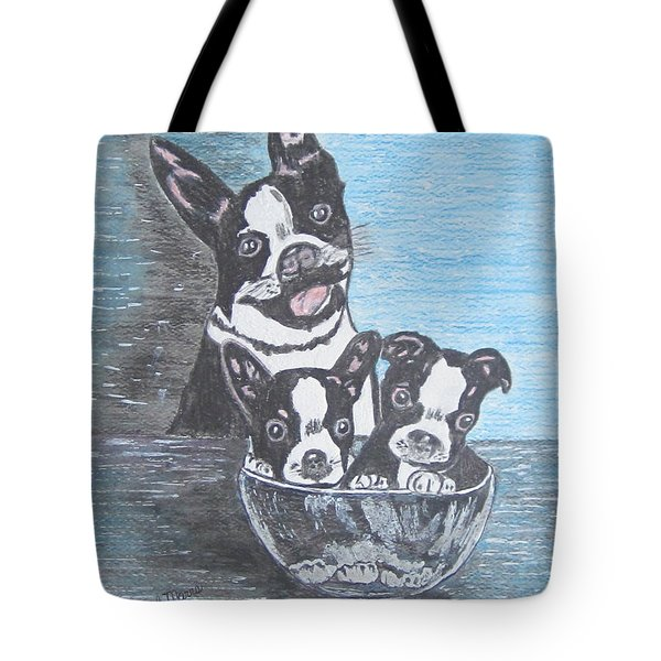 Tote Bag featuring the painting Boston Terrier Mom And Pups by Kathy Marrs Chandler