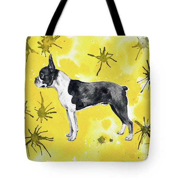 Tote Bag featuring the painting Boston Terrier On Yellow by Zaira Dzhaubaeva