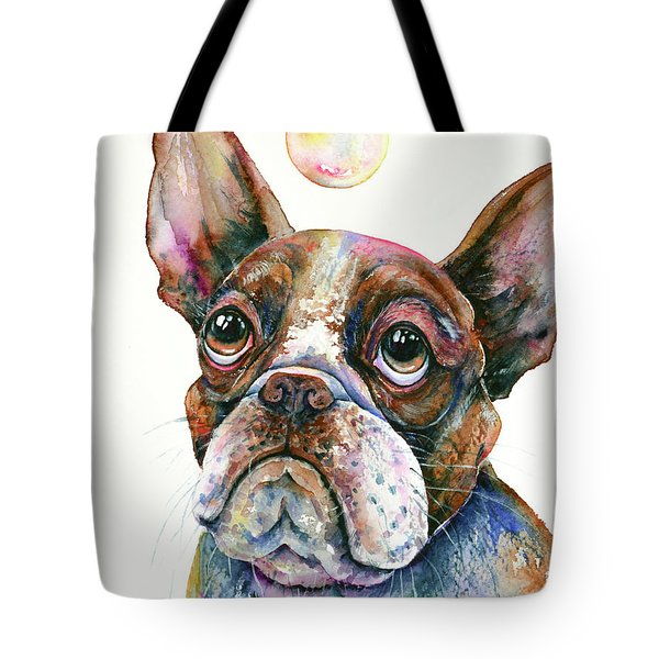 Tote Bag featuring the painting Boston Terrier Watching A Soap Bubble by Zaira Dzhaubaeva