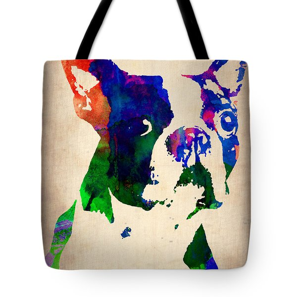 Boston Terrier Watercolor Tote Bag by Naxart Studio