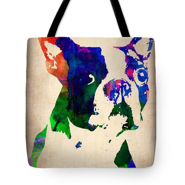 Boston Terrier Watercolor Tote Bag