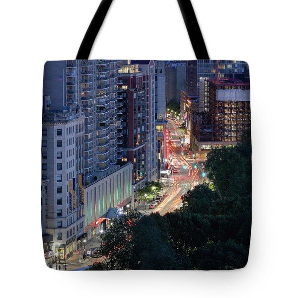 Tote Bag featuring the photograph Boston Tremont St by Michael Hubley