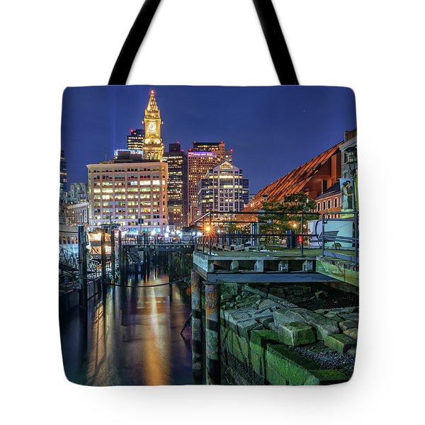 Boston's Custom House Tower From Long Wharf Tote Bag
