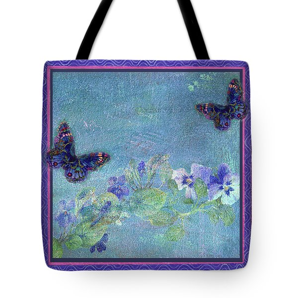 Botanical And Colorful Butterflies Tote Bag