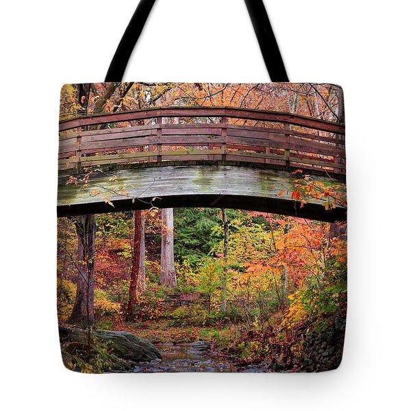 Botanical Gardens Arched Bridge Asheville During Fall Tote Bag