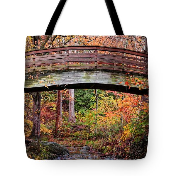 Botanical Gardens Arched Bridge Asheville During Fall Tote Bag