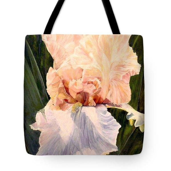 Botanical Peach Iris Tote Bag