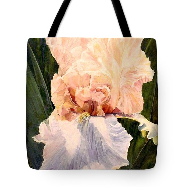 Botanical Peach Iris Tote Bag