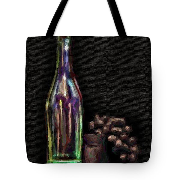 Tote Bag featuring the photograph Bottle And Grapes by Walt Foegelle