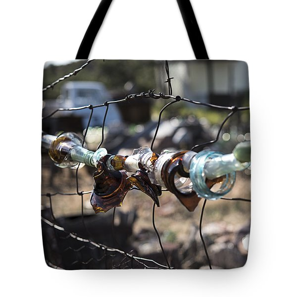 Bottle Fence Tote Bag by Annette Berglund
