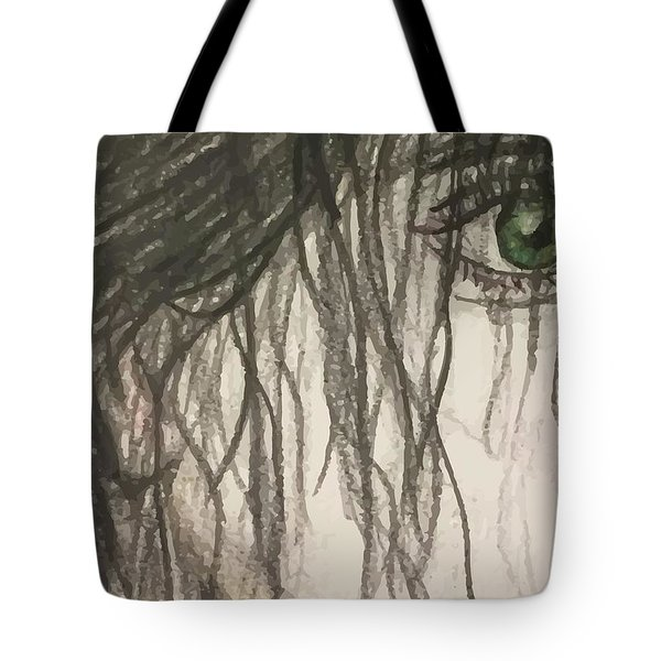 Bottle Green Red Lips Tote Bag