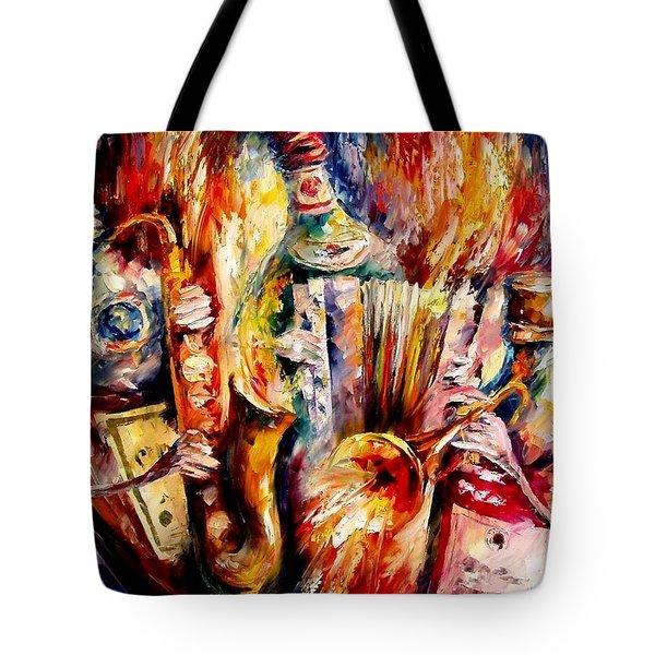 Bottle Jazz Tote Bag by Leonid Afremov