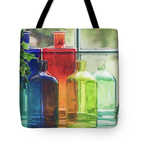 Tote Bag featuring the photograph Bottles In The Window by Teresa Wilson