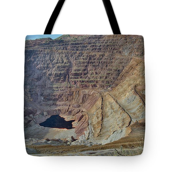 Tote Bag featuring the photograph Bottom Of The Lavender Pit Mine by Dan McManus