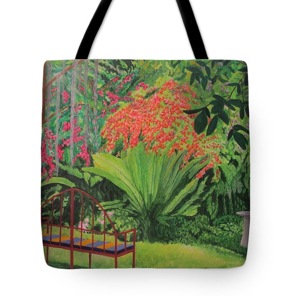 Tote Bag featuring the painting Bougainvillea Garden by Hilda and Jose Garrancho