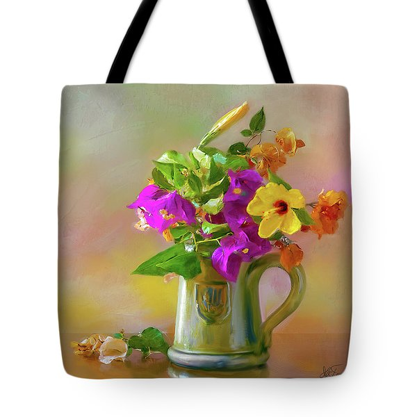 Bougainvilleas In A Green Jar. Tote Bag