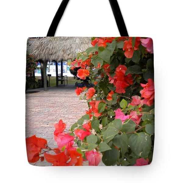 Tote Bag featuring the painting Bouganvilla 2 by Renate Nadi Wesley