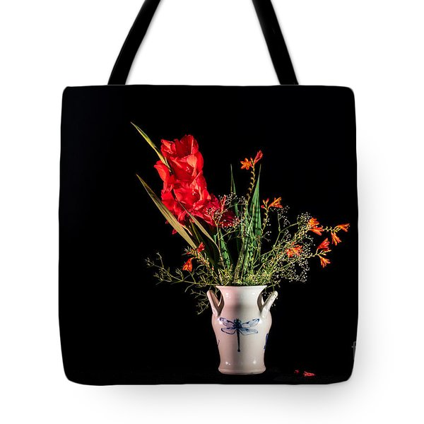 Bouquet In Red Tote Bag by Torbjorn Swenelius