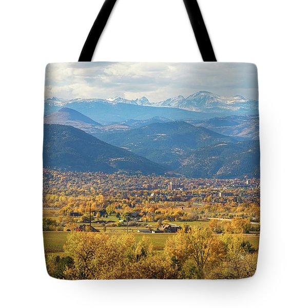 Boulder Colorado Autumn Scenic View Tote Bag