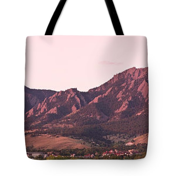 Boulder Colorado Flatirons 1st Light Panorama Tote Bag
