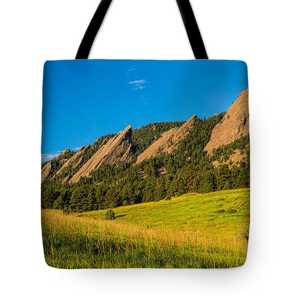 Boulder Colorado Flatirons Sunrise Golden Light Tote Bag