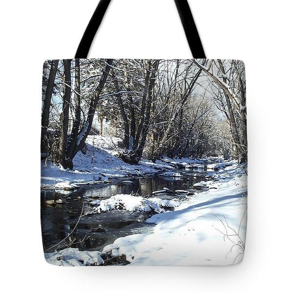 Boulder Creek After A Snowstorm Tote Bag