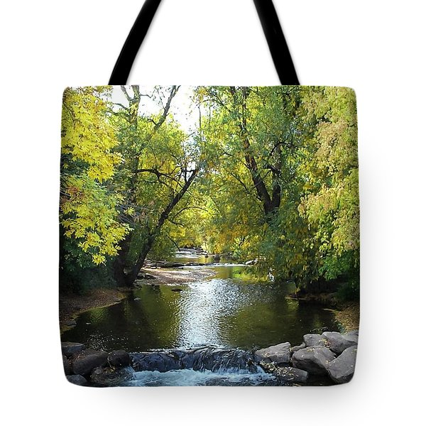 Boulder Creek Tumbling Through Early Fall Foliage Tote Bag