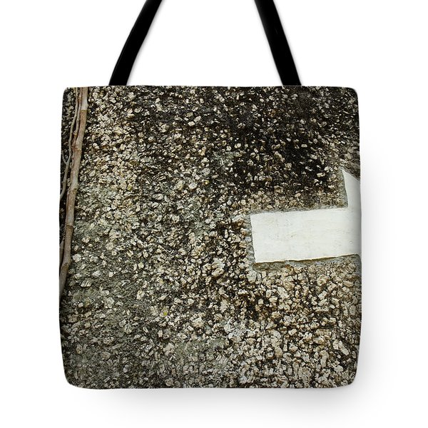 Boulder Face With Arrow And Vines Tote Bag