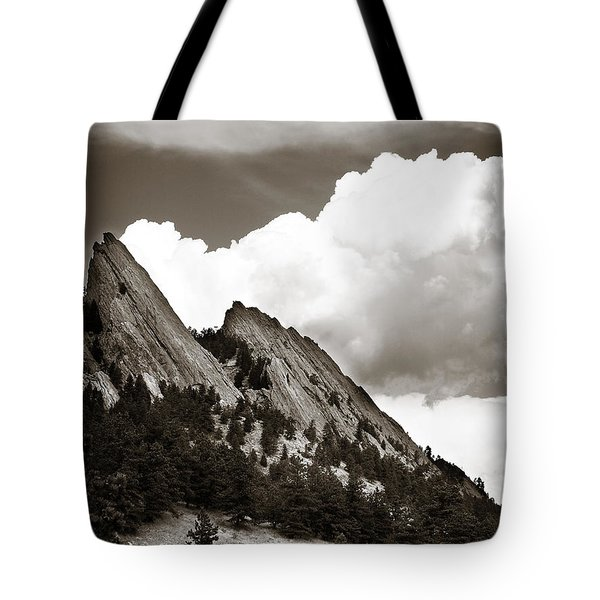 Large Cloud Over Flatirons Tote Bag by Marilyn Hunt