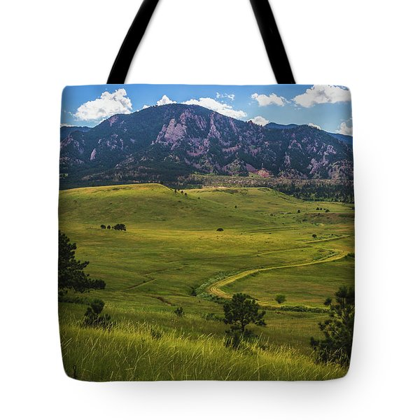 Tote Bag featuring the photograph Boulder Flatirons by Andy Konieczny