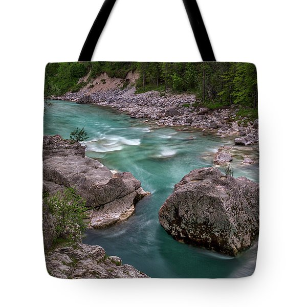 Tote Bag featuring the photograph Boulder In The River - Slovenia by Stuart Litoff