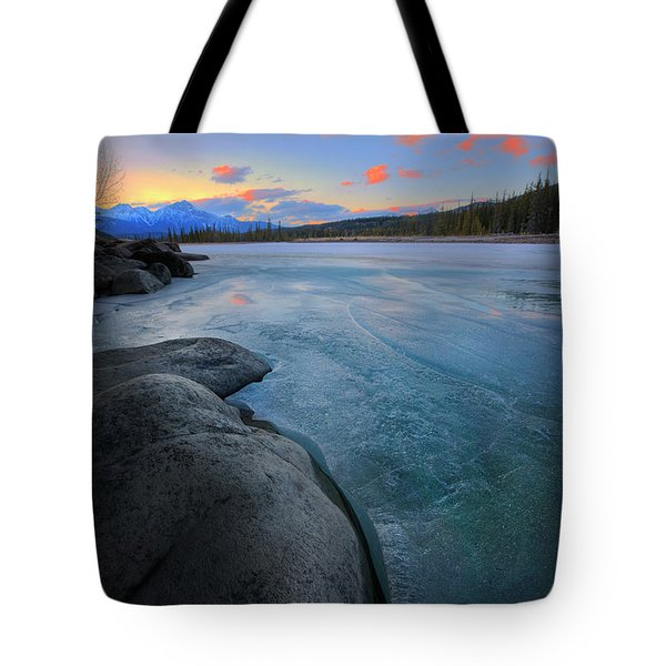 Boulders And Ice On The Athabasca River Tote Bag