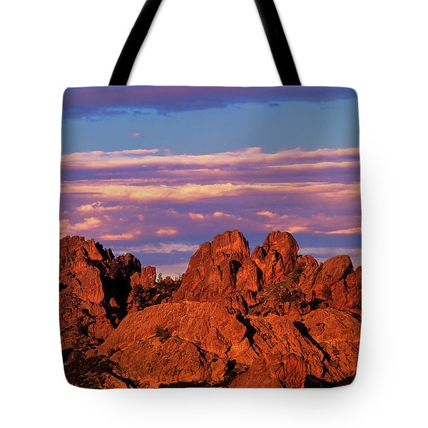 Boulders Sunset Light Pinnacles National Park Californ Tote Bag by Dave Welling
