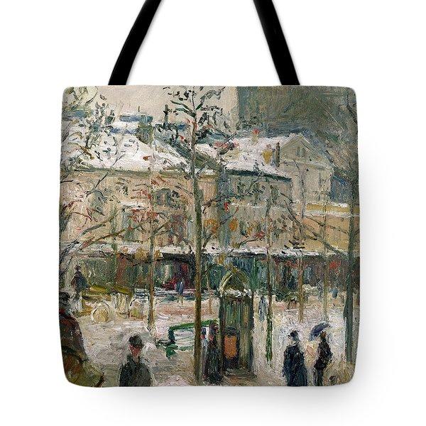 Boulevard De Rocheouart In Snow Tote Bag by Camille Pissarro