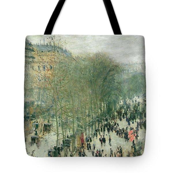 Boulevard Des Capucines Tote Bag by Claude Monet
