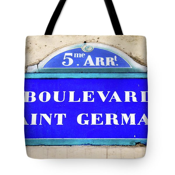Boulevard Saint Germain Sign In Paris Tote Bag