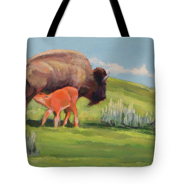Bouncing Baby Bison Tote Bag