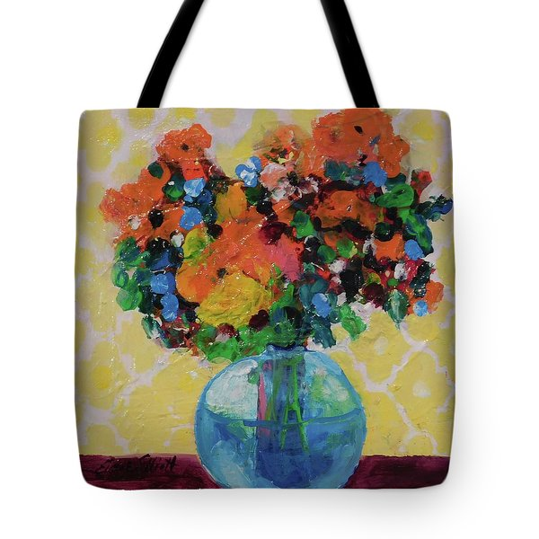 Bouquet-a-day #7 Original Acrylic Painting Free Shipping 59.00 By Elaine Elliott Tote Bag