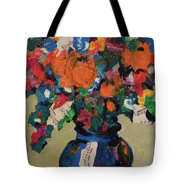 Bouquet-a-day #8 Original Mixed Media Painting On Canvas 70.00 Incl Shipping By Elaine Elliott Tote Bag