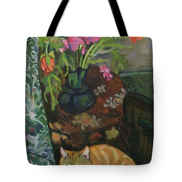 Bouquet And A Cat Tote Bag by Marie Clementine Valadon