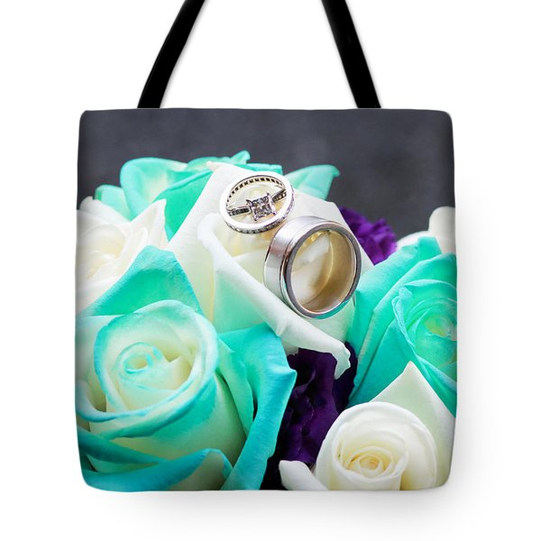 Bouquet And Wedding Rings Tote Bag