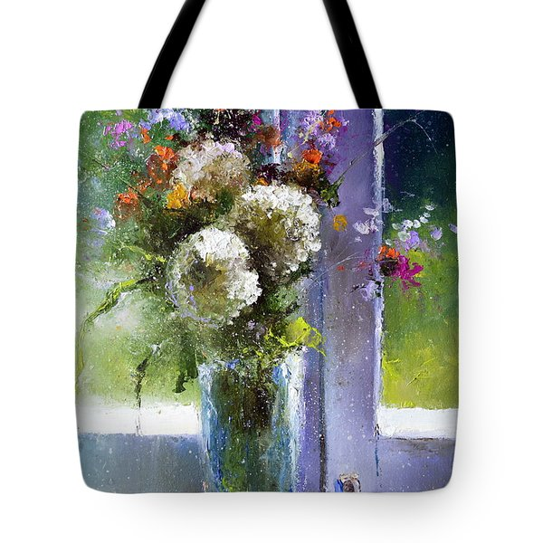 Bouquet At Window Tote Bag