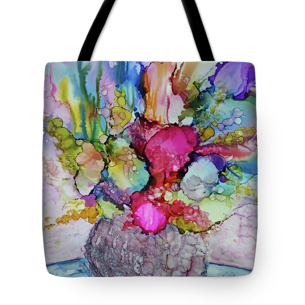 Tote Bag featuring the painting Bouquet In Pastel by Joanne Smoley
