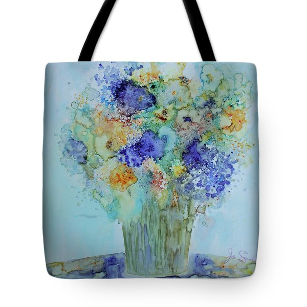 Tote Bag featuring the painting Bouquet Of Blue And Gold by Joanne Smoley