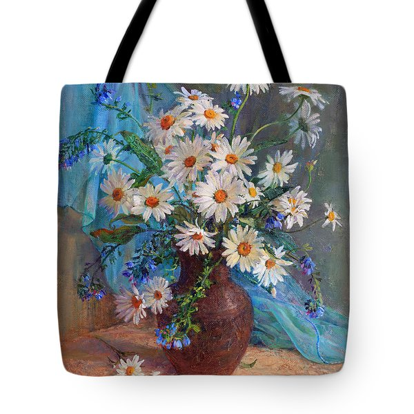Bouquet Of Daisies In A Vase From Clay Tote Bag