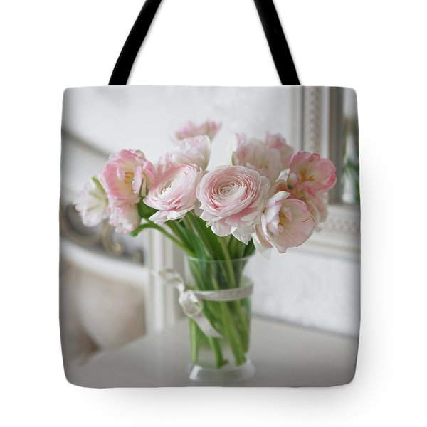 Bouquet Of Delicate Ranunculus And Tulips In Interior Tote Bag